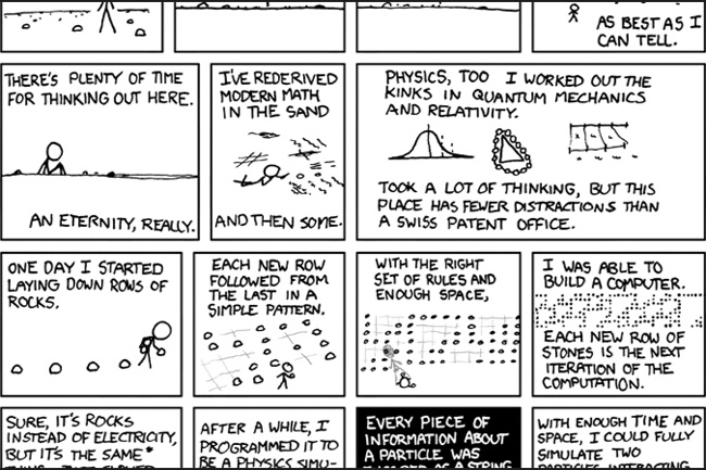 "XKCD, ""a webcomic of romance, sarcasm, math, and language"""