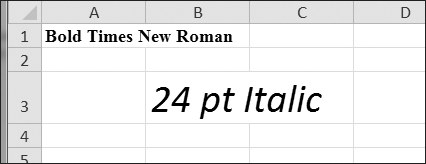 A spreadsheet with custom font styles