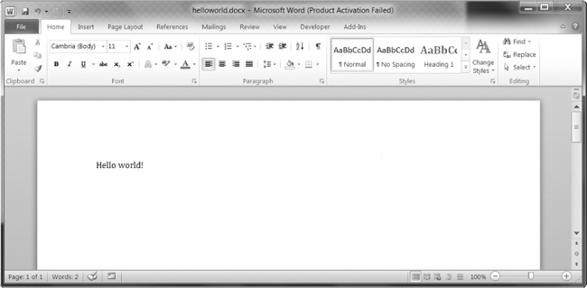 The Word document created using add_paragraph('Hello world!')