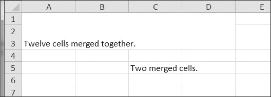 Merged cells in a spreadsheet