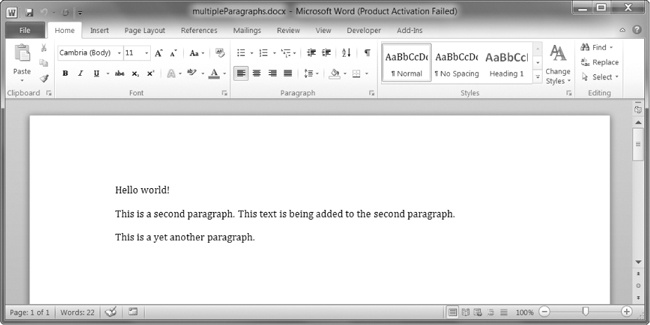 The document with multiple Paragraph and Run objects added