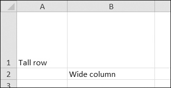 Row 1 and column B set to larger heights and widths