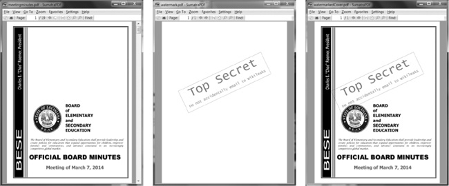The original PDF (left), the watermark PDF (center), and the merged PDF (right)