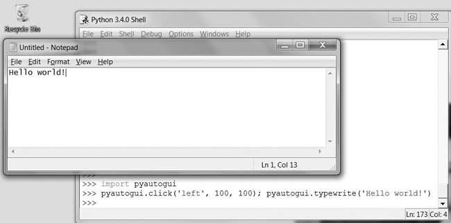 Using PyAutogGUI to click the file editor window and type Hello world! into it